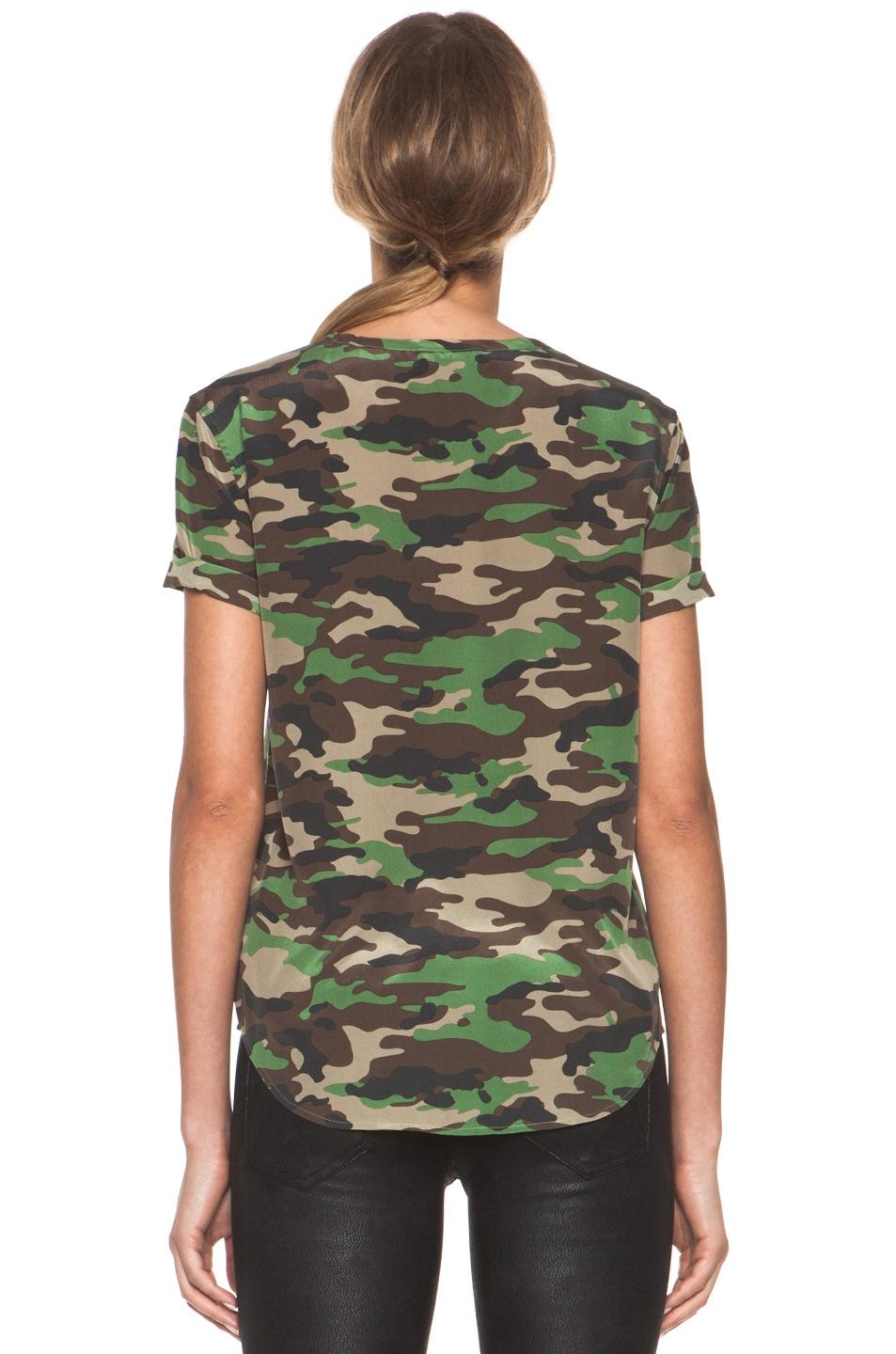 Image 4 of Equipment Riley Tee in Safari Green Multi
