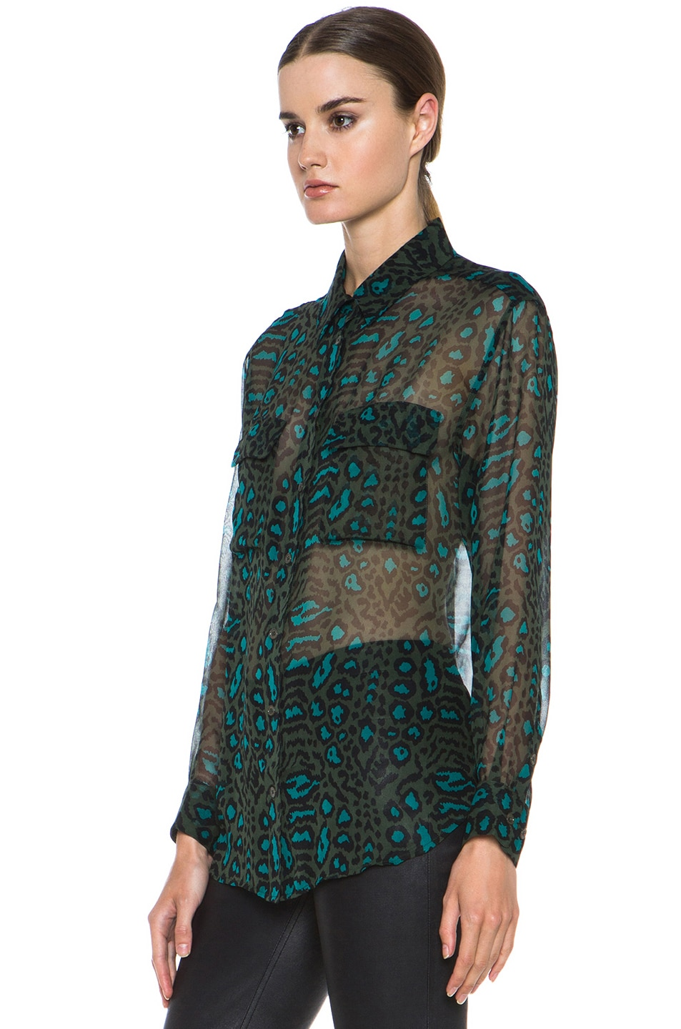 Image 2 of Equipment Signature Distressed Hyde Silk Blouse in Dark Army