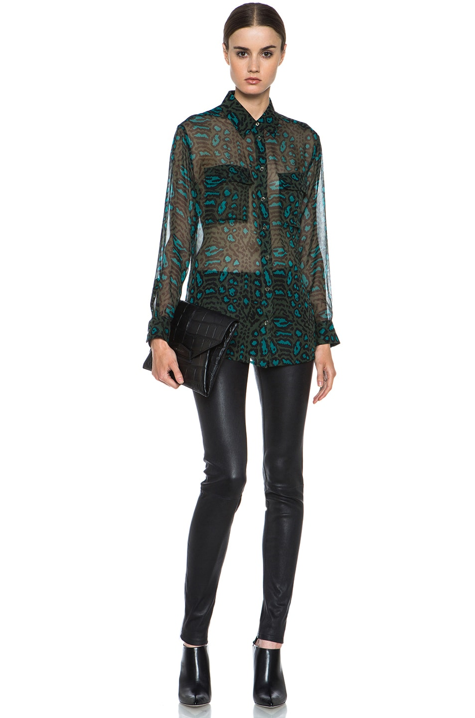 Image 5 of Equipment Signature Distressed Hyde Silk Blouse in Dark Army