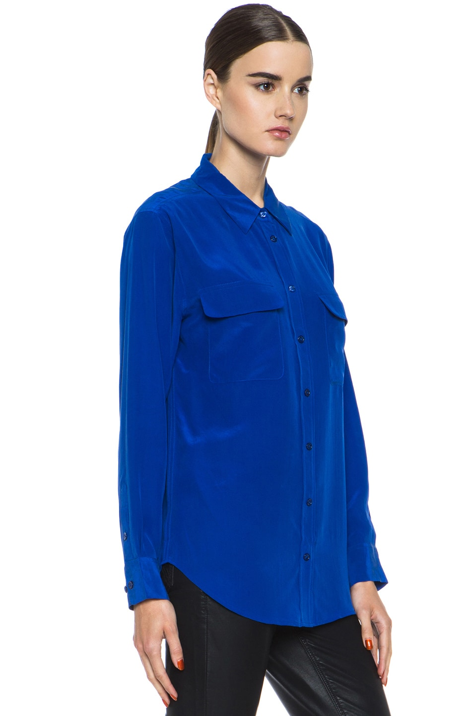 Image 3 of Equipment Signature Blouse in Mazarine Blue