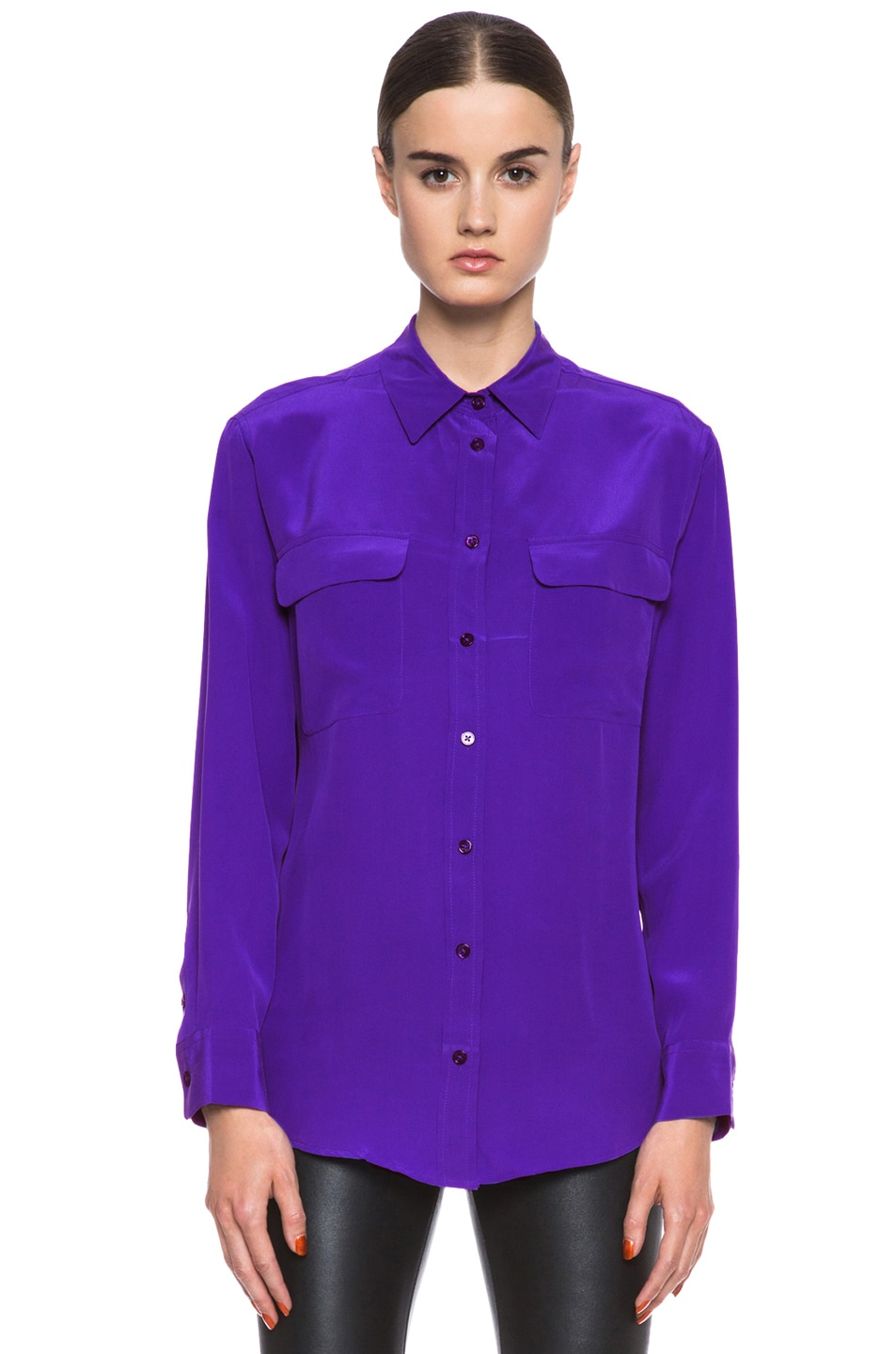 Image 1 of Equipment Signature Silk Blouse in Deep Blue