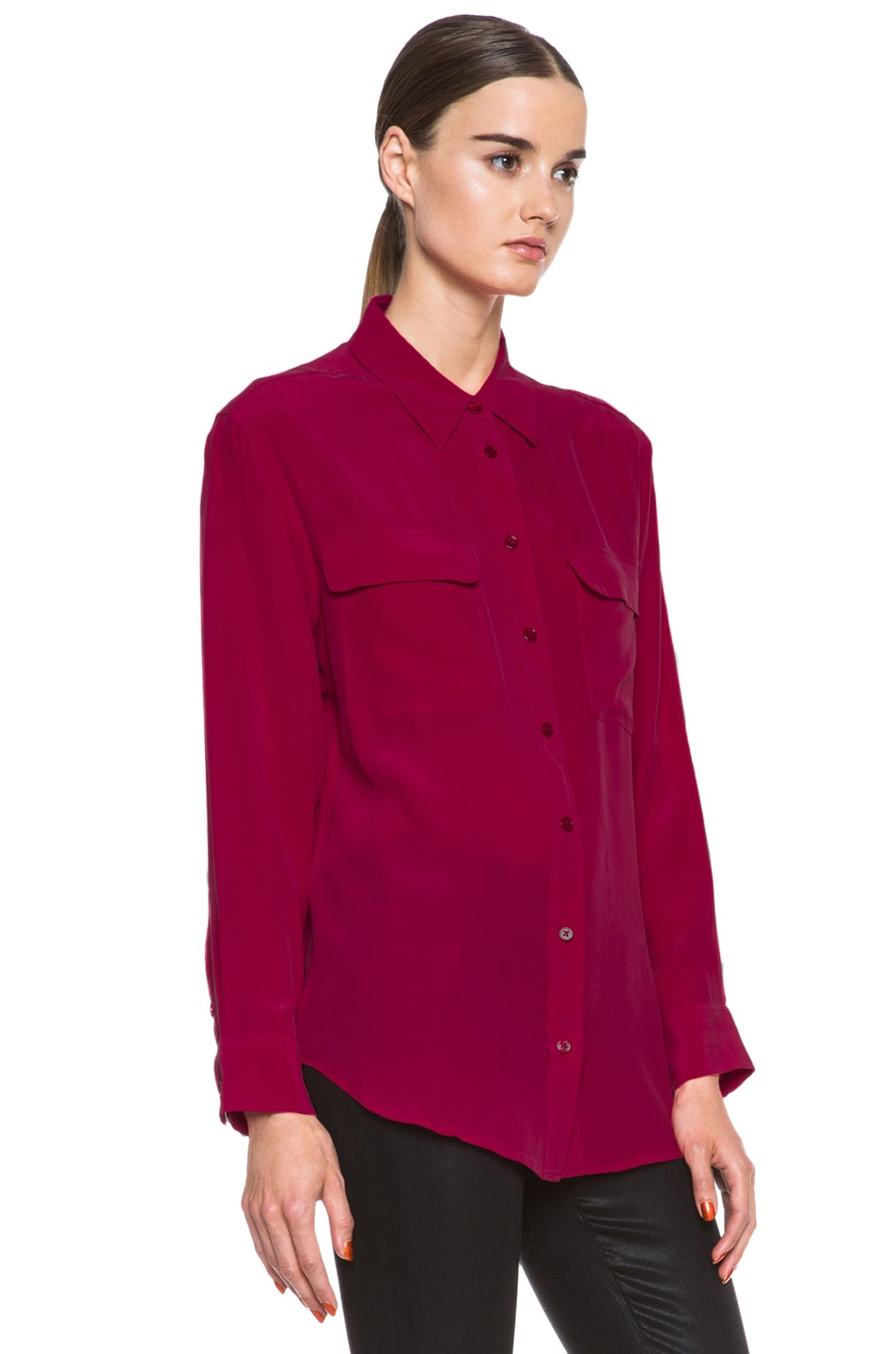 Image 3 of Equipment Signature Silk Blouse in Persian Red