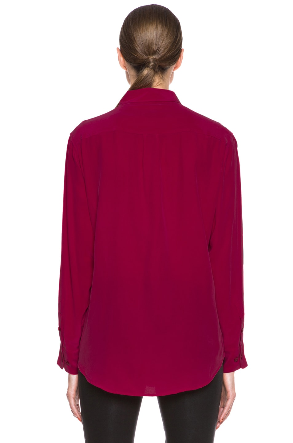 Image 4 of Equipment Signature Silk Blouse in Persian Red