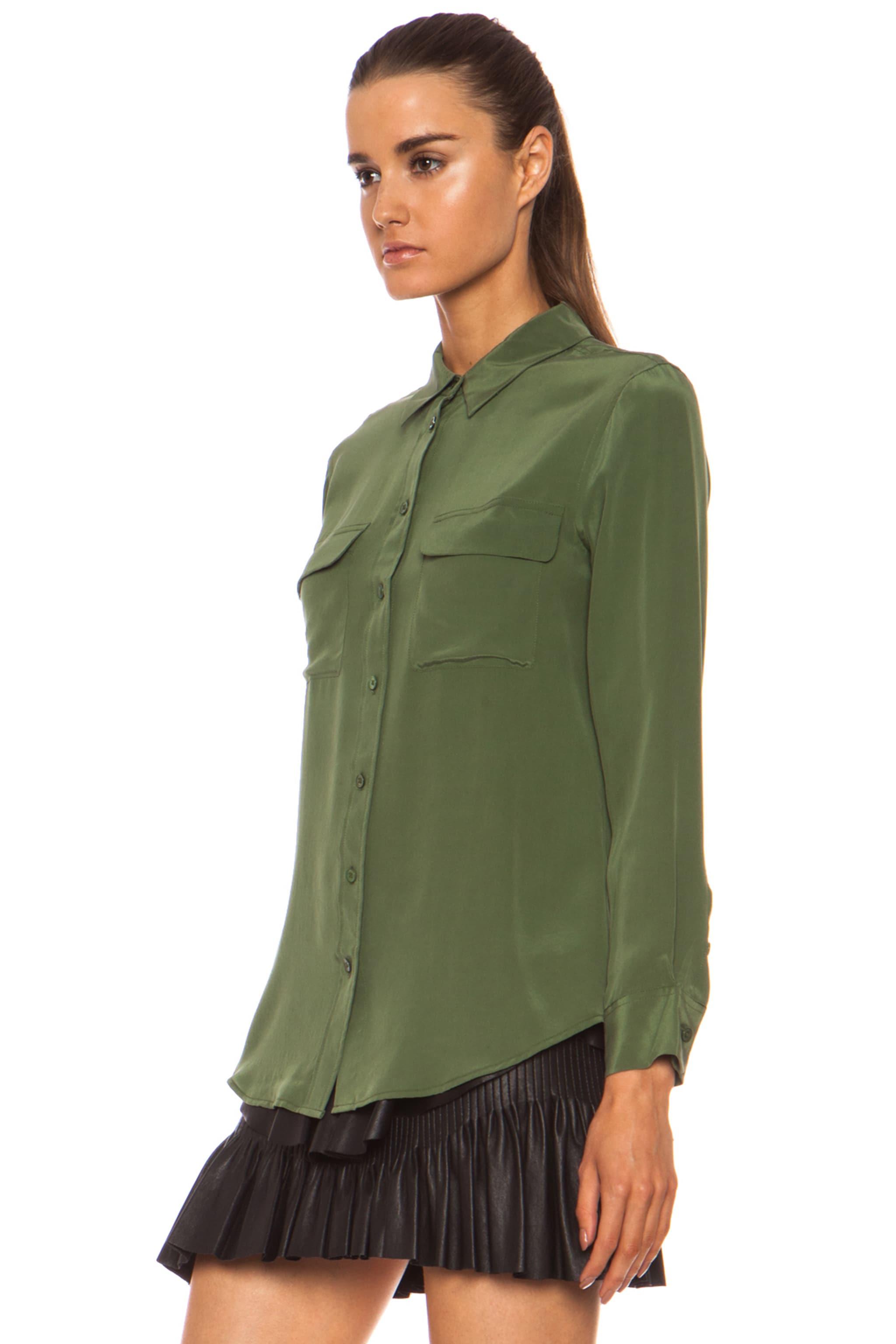 Image 2 of Equipment Slim Signature Silk Blouse in Military Green
