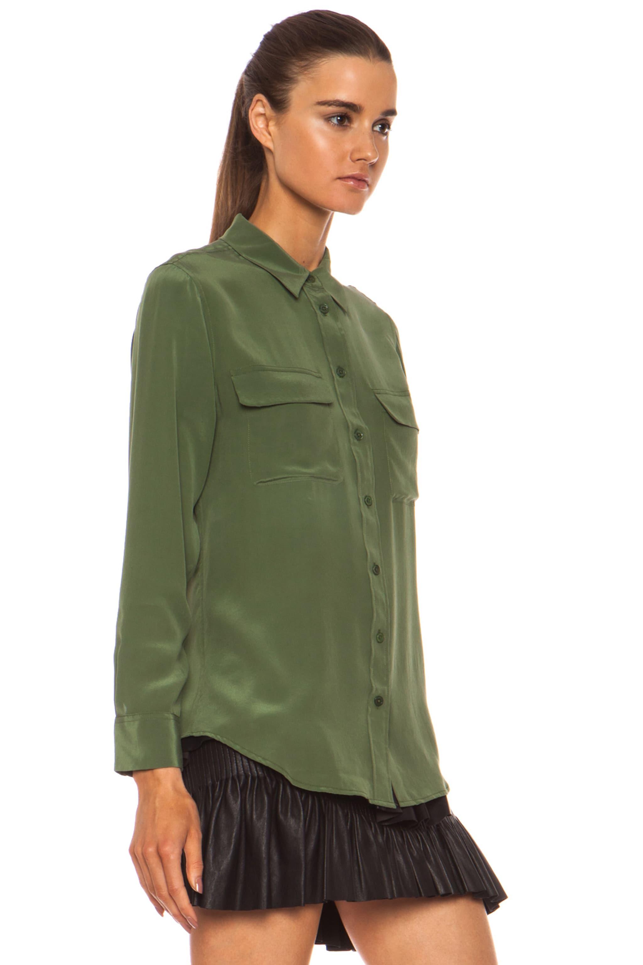 Image 3 of Equipment Slim Signature Silk Blouse in Military Green