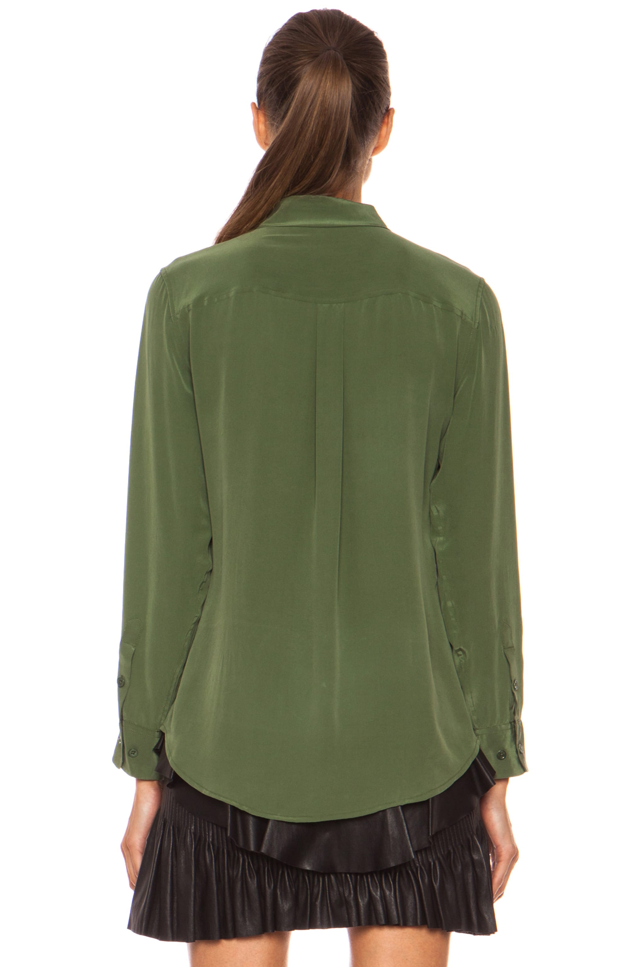 Image 4 of Equipment Slim Signature Silk Blouse in Military Green