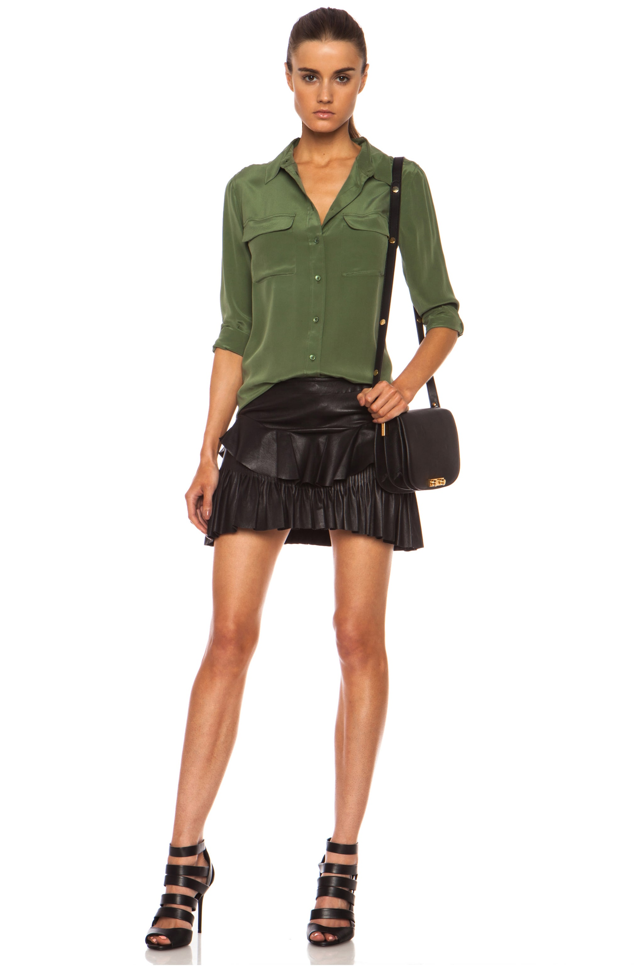 Image 5 of Equipment Slim Signature Silk Blouse in Military Green