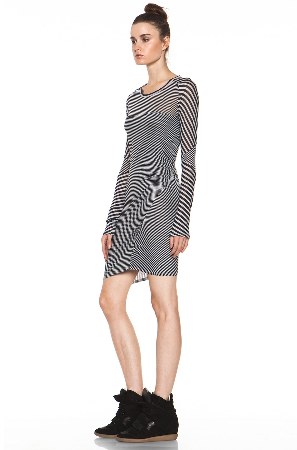 Image 2 of Isabel Marant Etoile Easton Super Light Jersey Striped Dress in Charbon