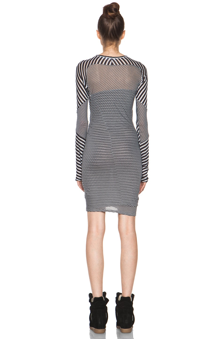Image 4 of Isabel Marant Etoile Easton Super Light Jersey Striped Dress in Charbon