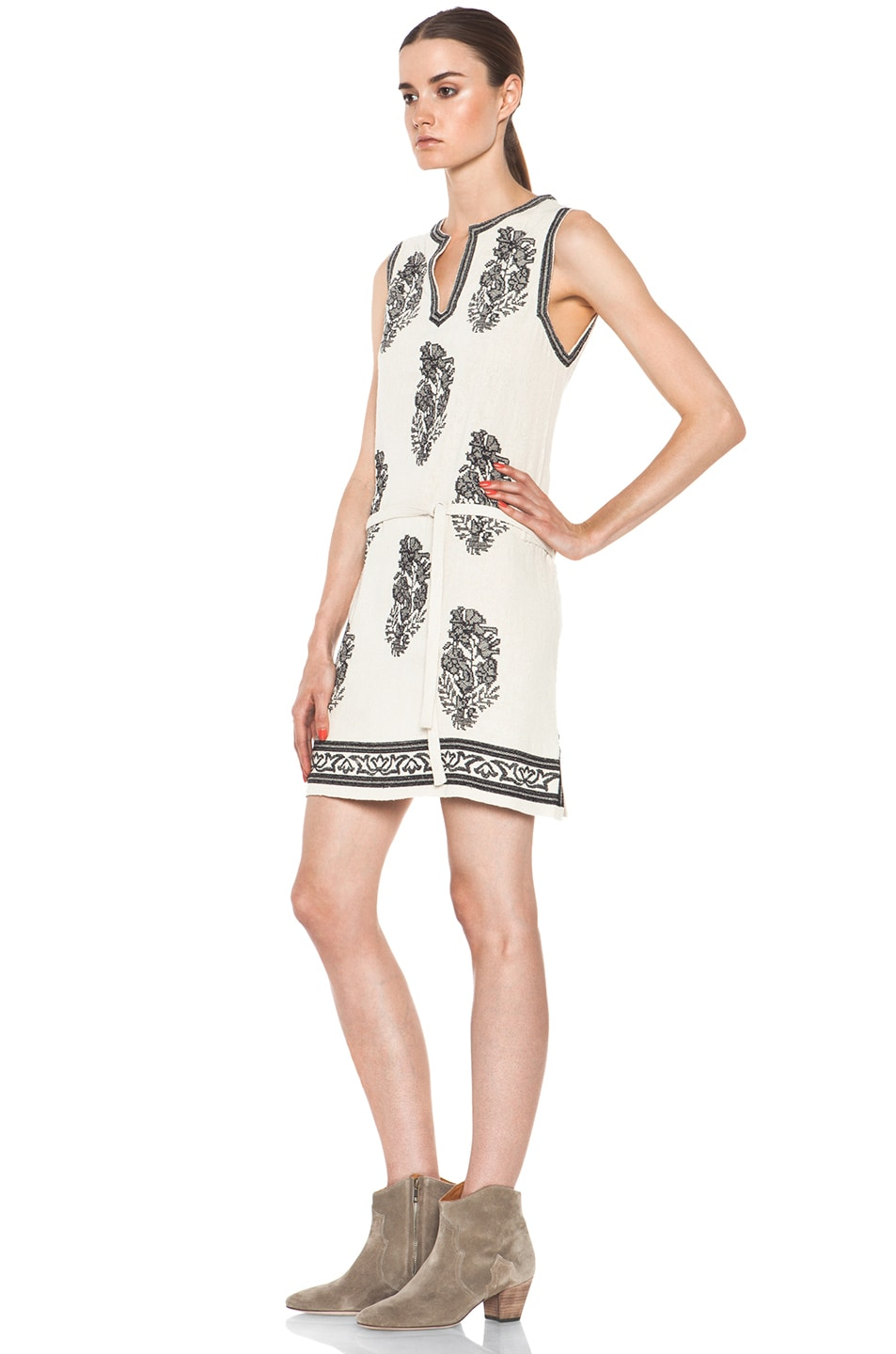Image 2 of Isabel Marant Etoile Dita Embroidered Noil Silk Dress in Ecru & Noir