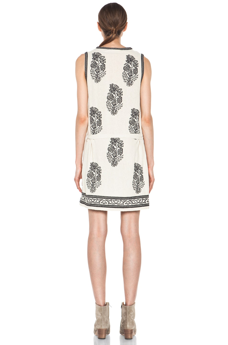 Image 4 of Isabel Marant Etoile Dita Embroidered Noil Silk Dress in Ecru & Noir