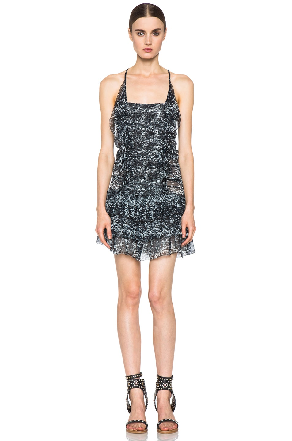 Image 1 of Isabel Marant Etoile Duffy Printed Chiffon Silk Dress in Noir
