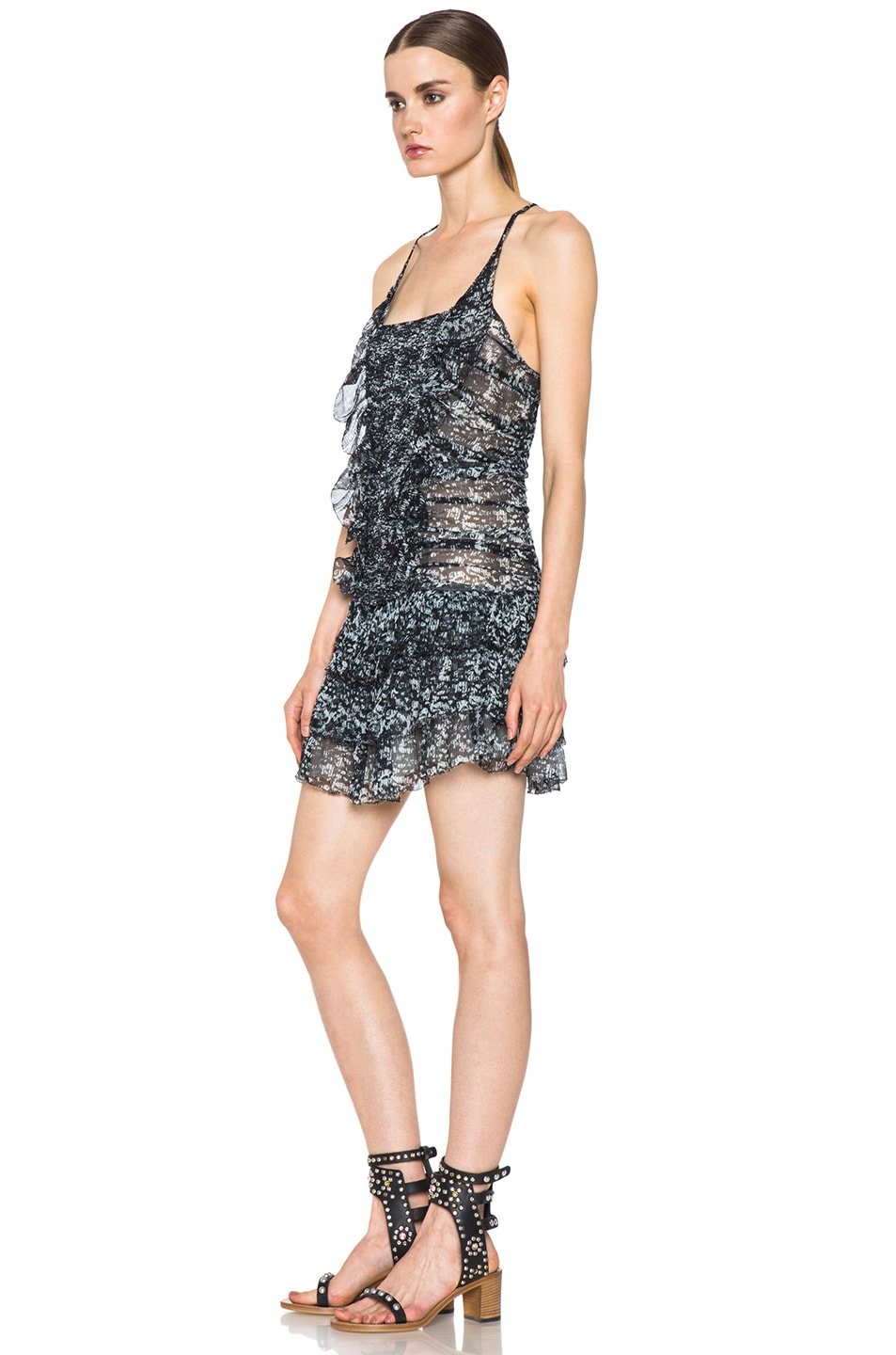Image 2 of Isabel Marant Etoile Duffy Printed Chiffon Silk Dress in Noir