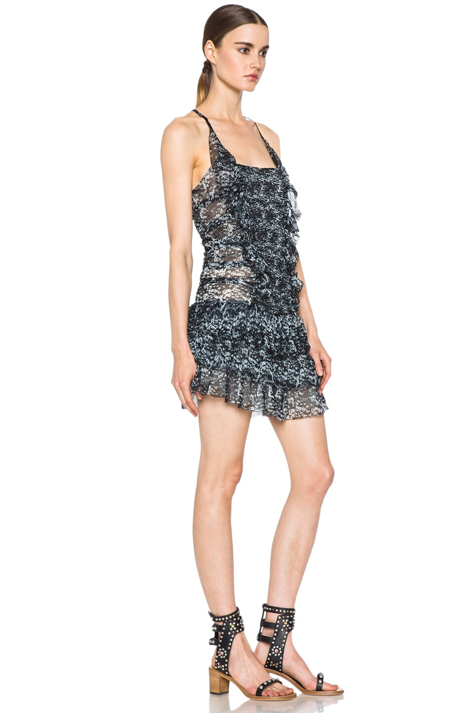 Image 3 of Isabel Marant Etoile Duffy Printed Chiffon Silk Dress in Noir