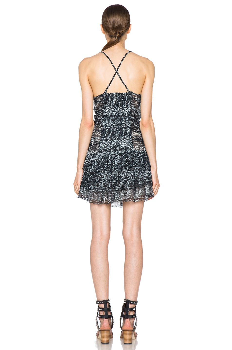 Image 4 of Isabel Marant Etoile Duffy Printed Chiffon Silk Dress in Noir