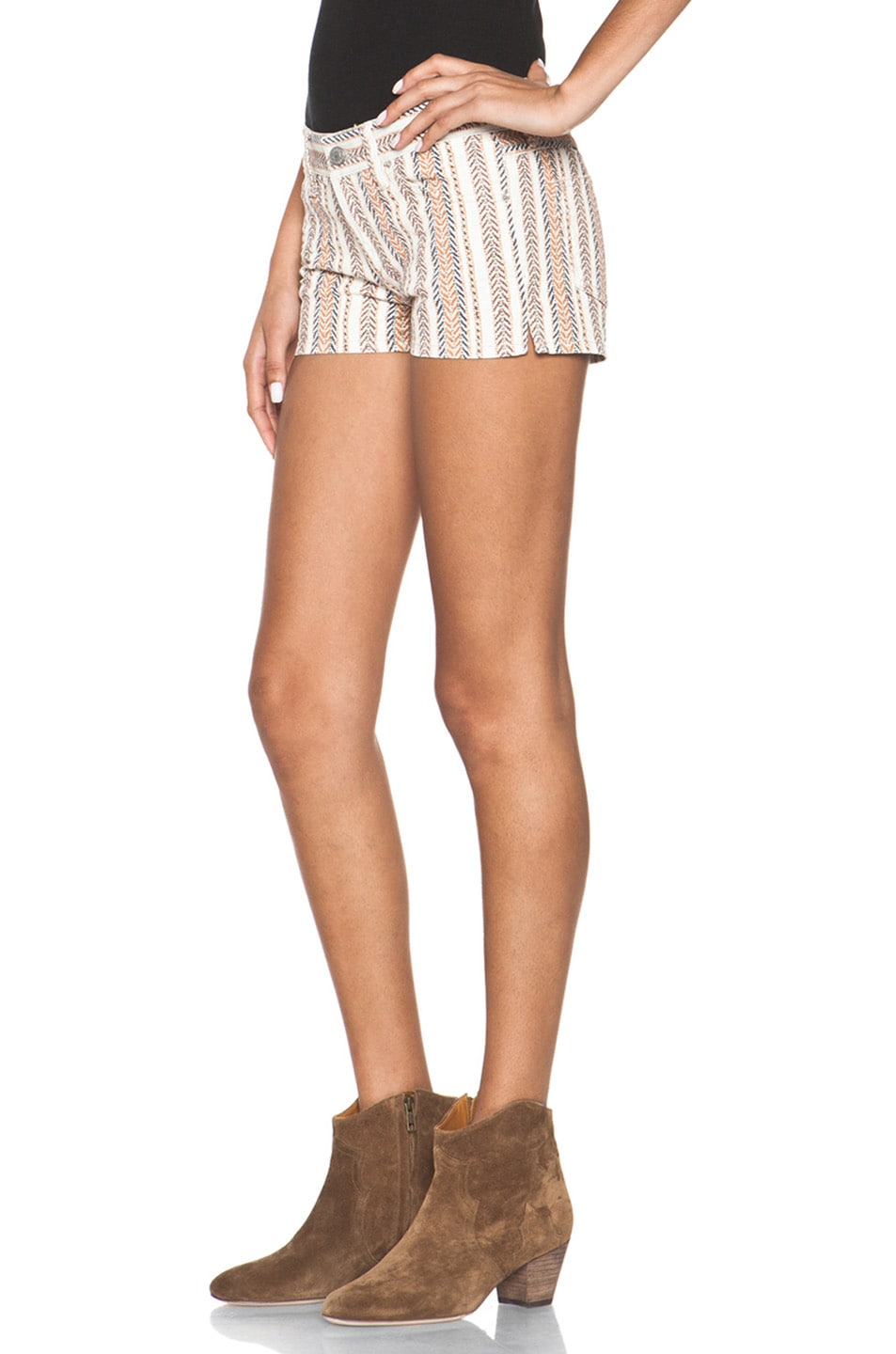 Image 2 of Isabel Marant Etoile Charly Striped Shorts in Moutarde