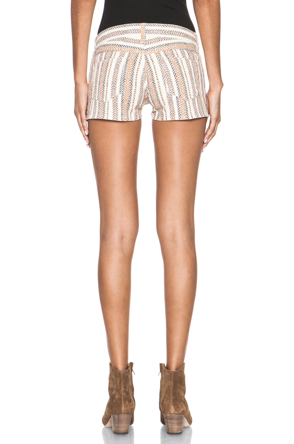 Image 4 of Isabel Marant Etoile Charly Striped Shorts in Moutarde