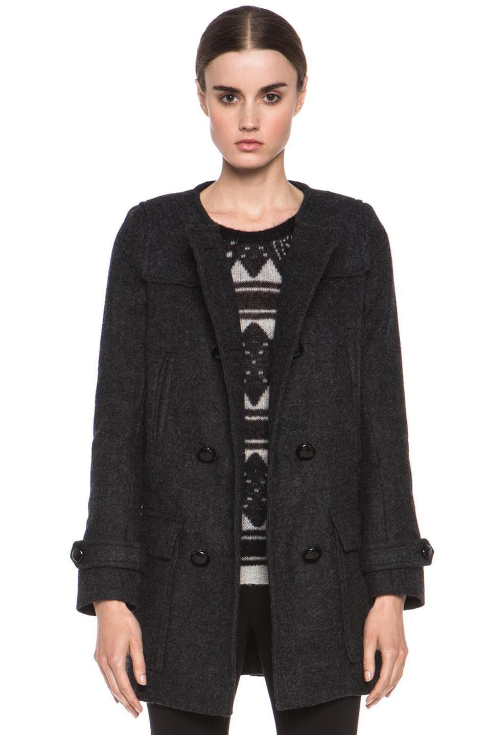 Image 1 of Isabel Marant Etoile Clifford Caban Wool-Blend Peacoat in Anthracite