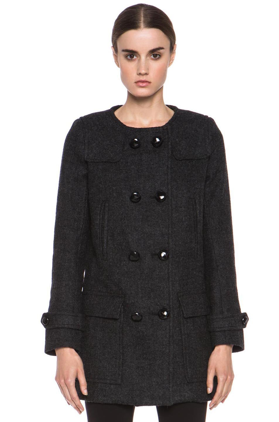 Image 2 of Isabel Marant Etoile Clifford Caban Wool-Blend Peacoat in Anthracite