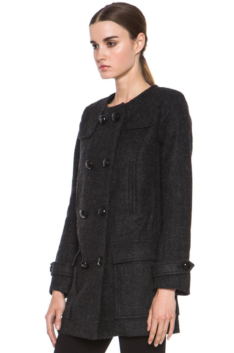 Image 3 of Isabel Marant Etoile Clifford Caban Wool-Blend Peacoat in Anthracite