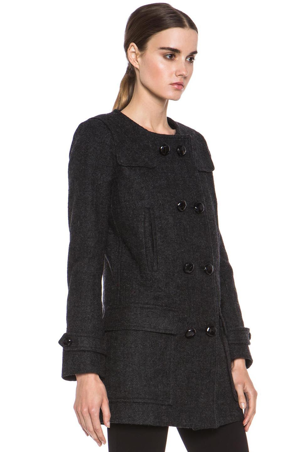 Image 4 of Isabel Marant Etoile Clifford Caban Wool-Blend Peacoat in Anthracite