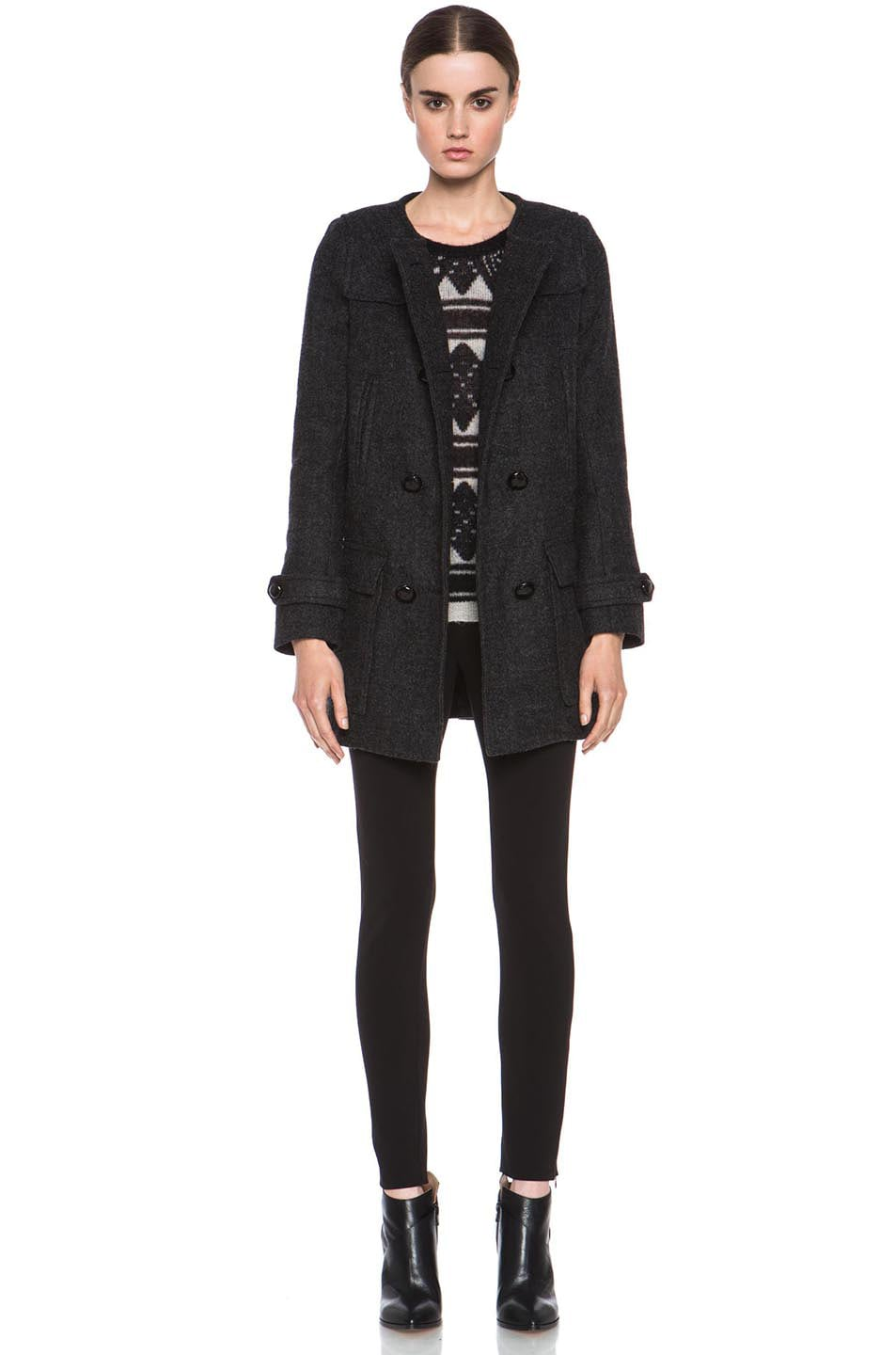 Image 6 of Isabel Marant Etoile Clifford Caban Wool-Blend Peacoat in Anthracite