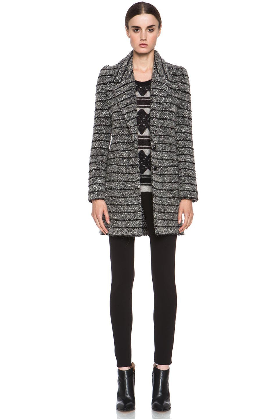 Image 1 of Isabel Marant Etoile Ifea Cowens Wool-Blend Knit Coat in Grey