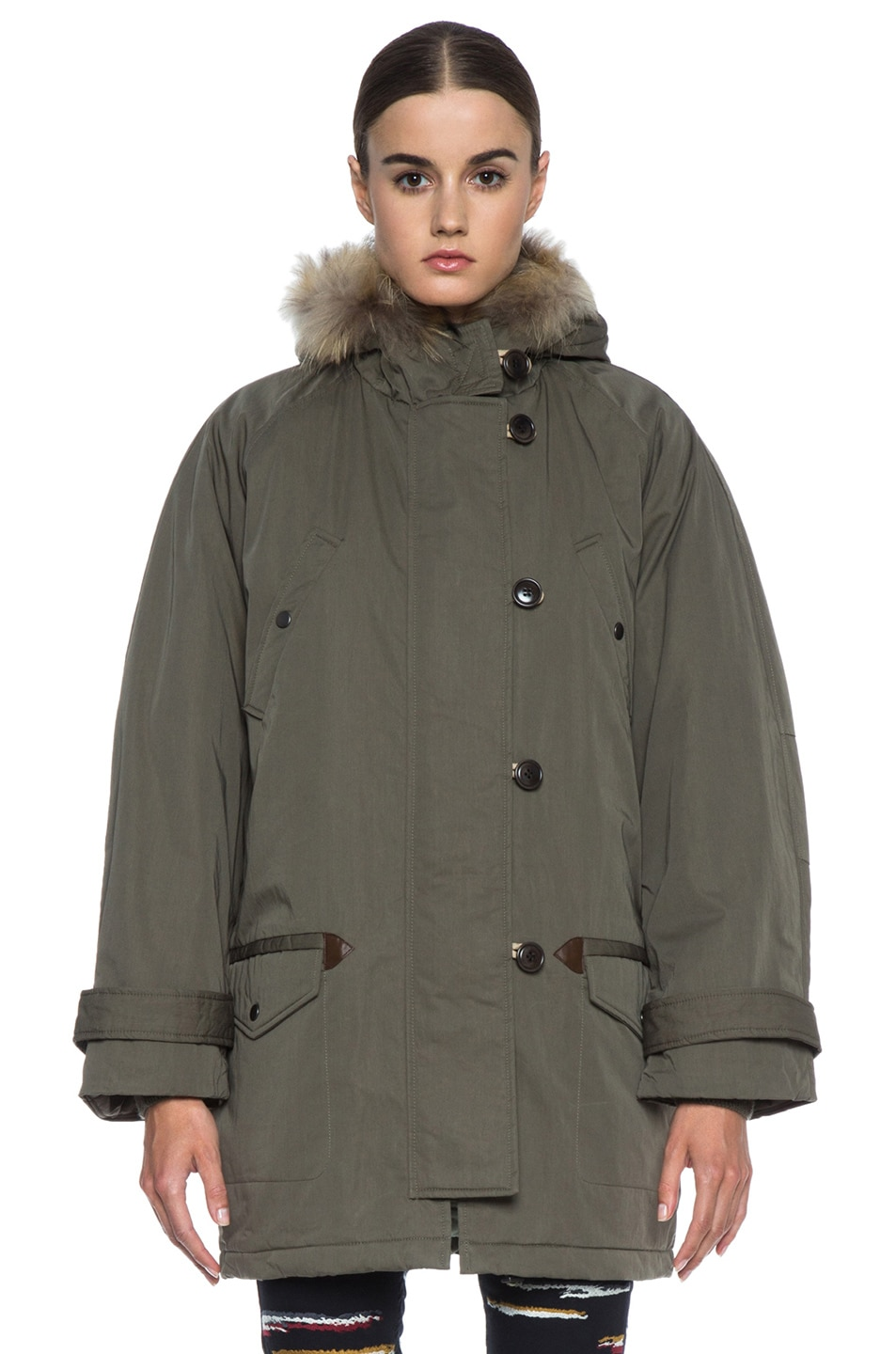 Image 2 of Isabel Marant Etoile Felton Cotton-Blend Parka with Fur in Khaki
