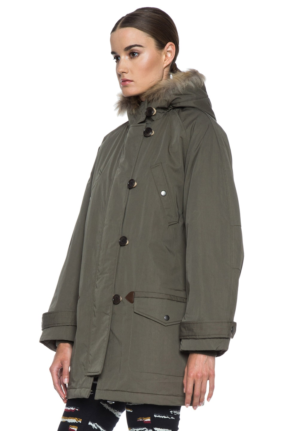 Image 3 of Isabel Marant Etoile Felton Cotton-Blend Parka with Fur in Khaki