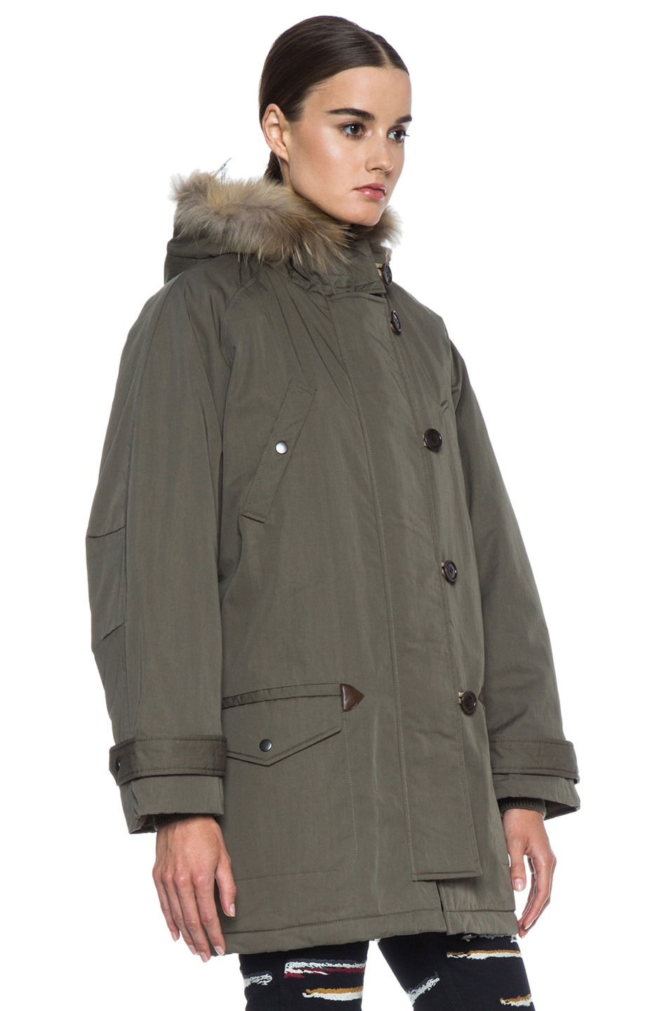 Image 4 of Isabel Marant Etoile Felton Cotton-Blend Parka with Fur in Khaki