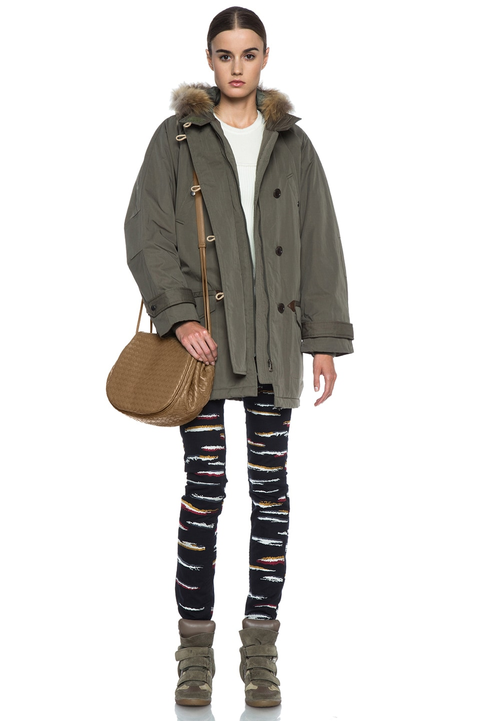 Image 6 of Isabel Marant Etoile Felton Cotton-Blend Parka with Fur in Khaki