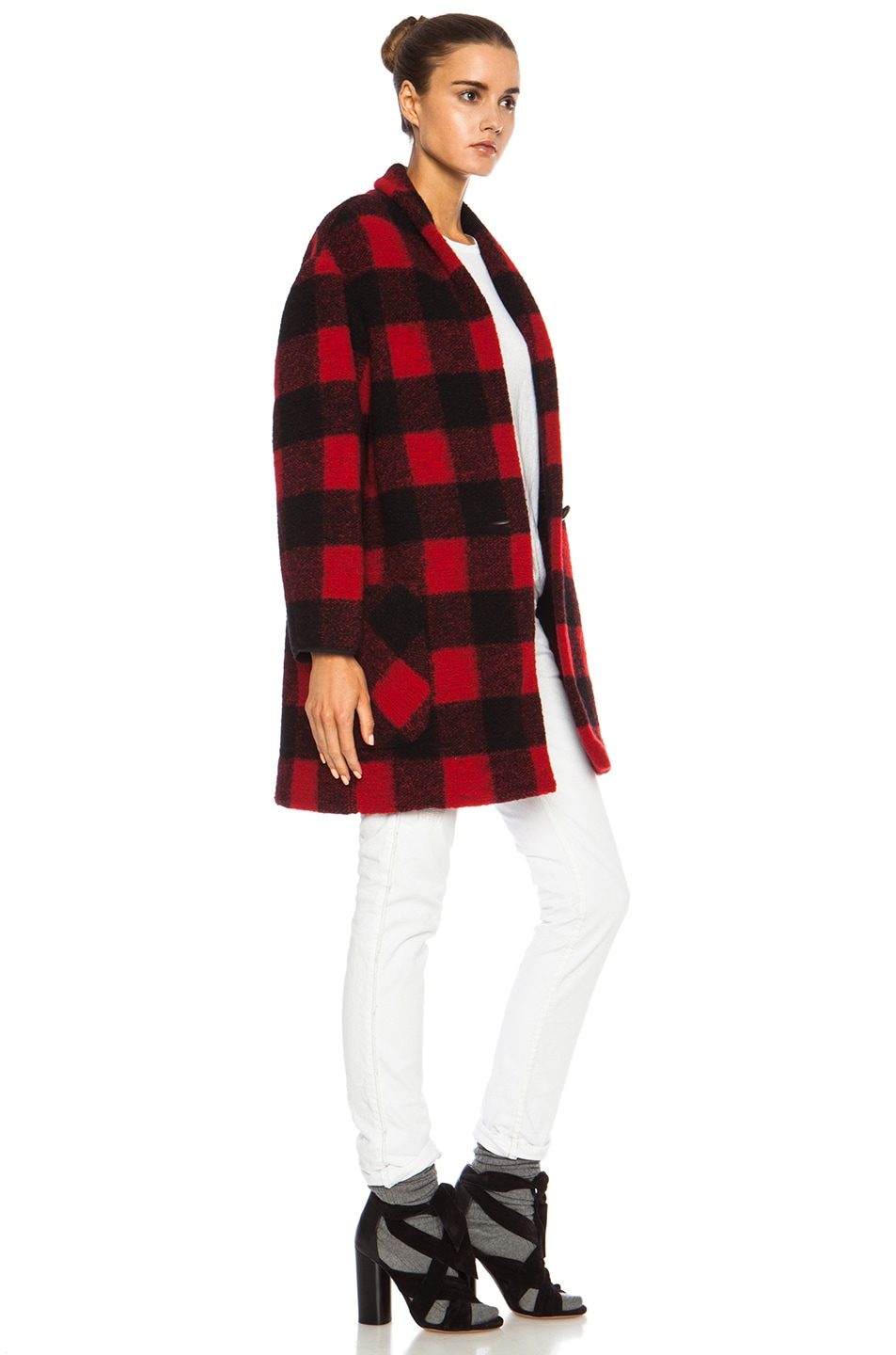 Isabel Marant Etoile Gabrie Check Wool-Blend Jacket in Black & Red