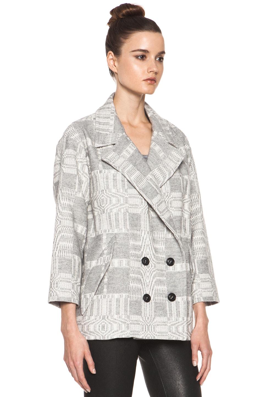Image 4 of Isabel Marant Etoile Alika Blanket Coat in Gris Ecru