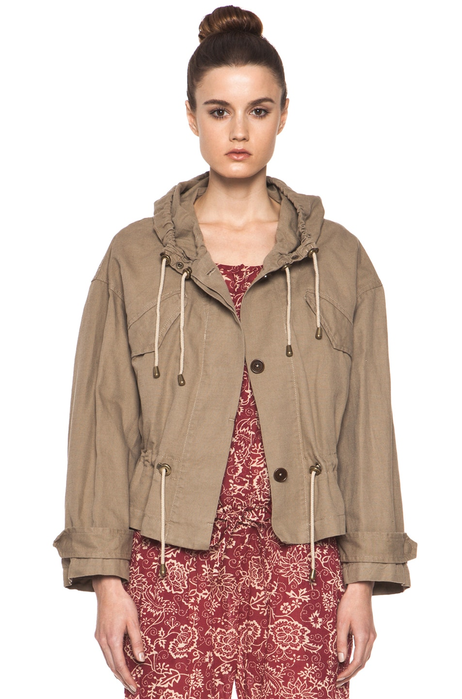 Image 1 of Isabel Marant Etoile Gilly Cotton Canvas Jacket in Ficelle