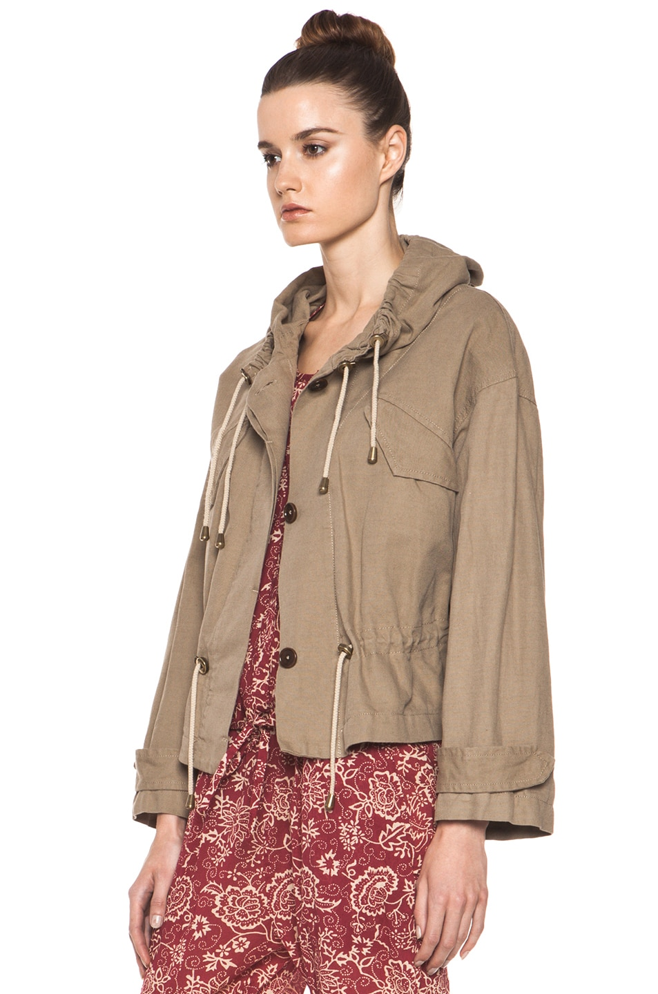 Image 2 of Isabel Marant Etoile Gilly Cotton Canvas Jacket in Ficelle