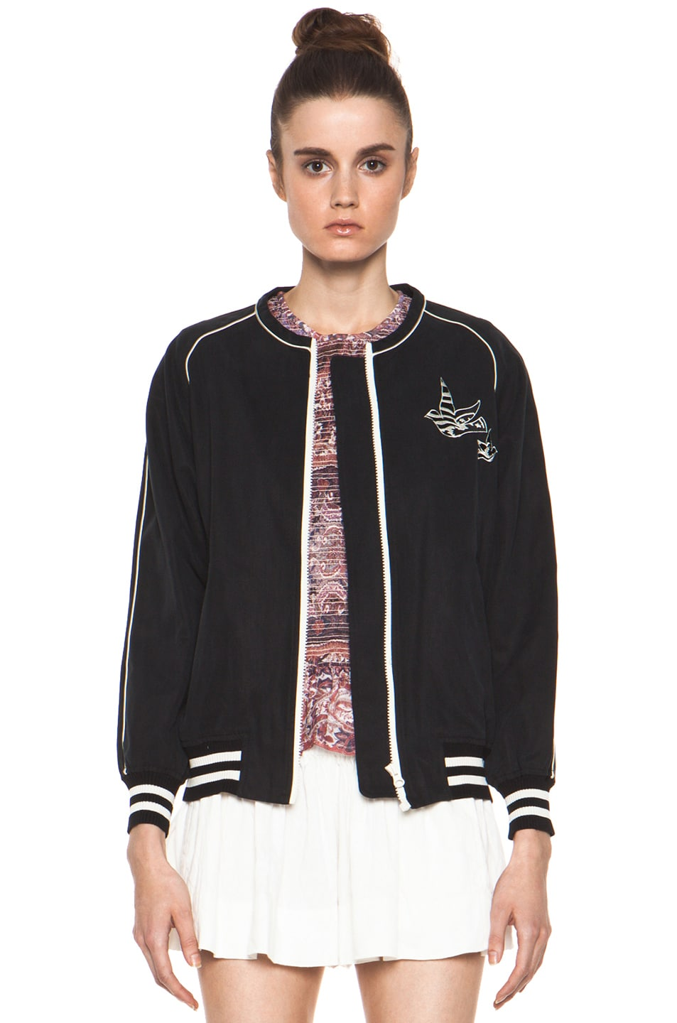 Image 1 of Isabel Marant Etoile Anderson Slouchy Cotton Drill Jacket in Noir