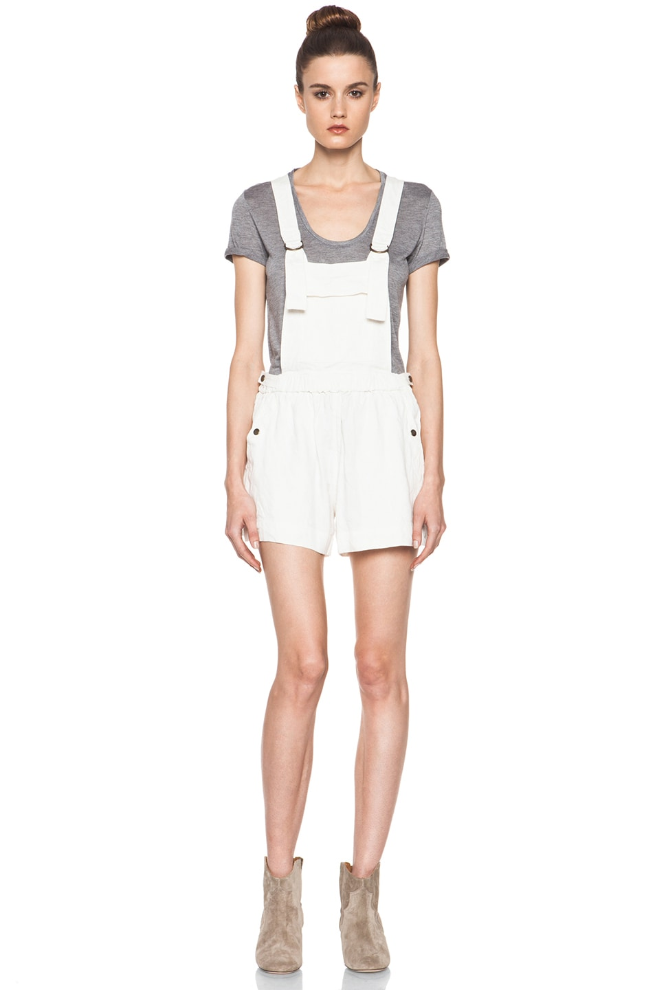 Image 1 of Isabel Marant Etoile Jason Fluffy Linen Overalls in Blanc