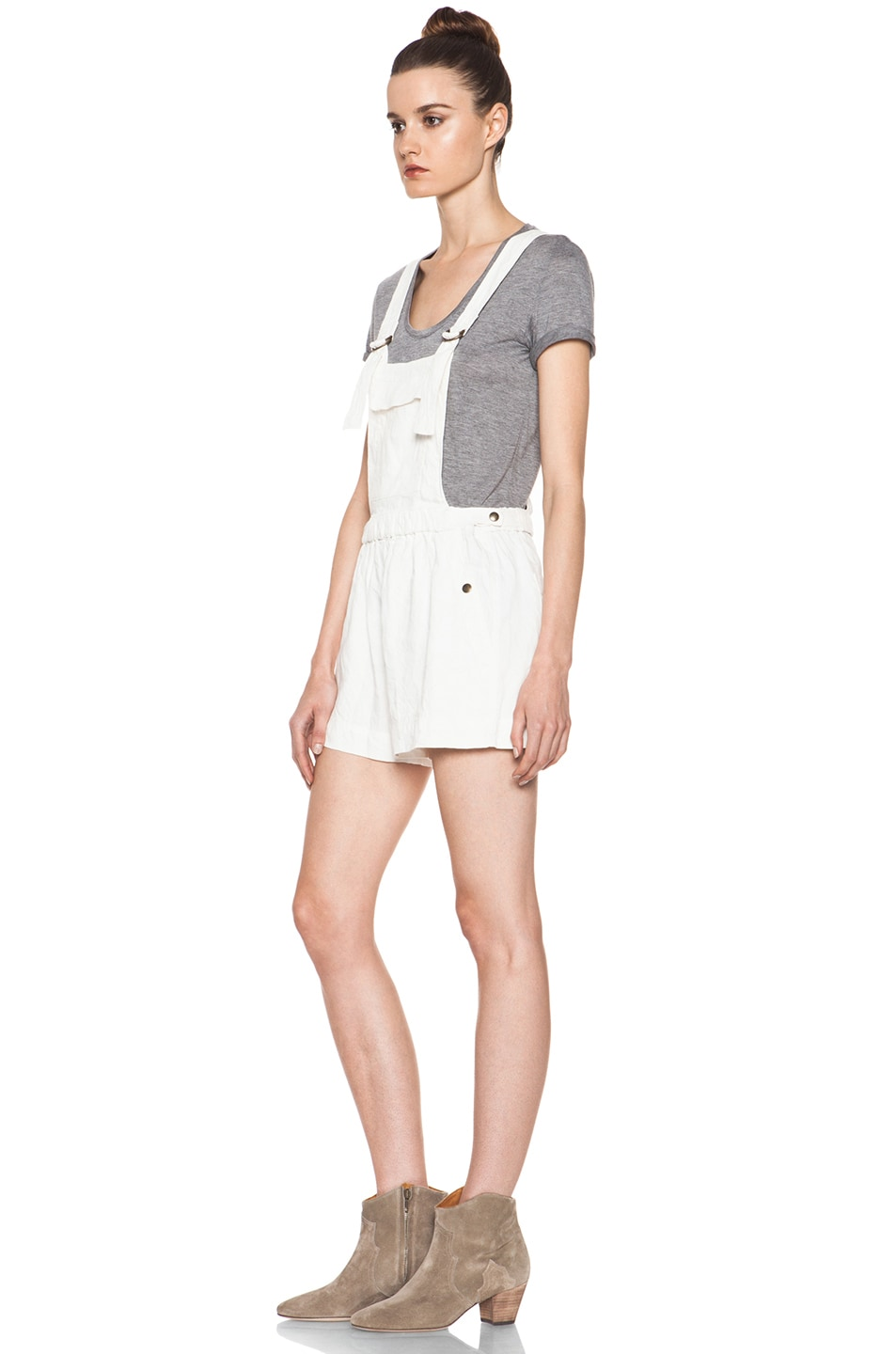 Image 2 of Isabel Marant Etoile Jason Fluffy Linen Overalls in Blanc