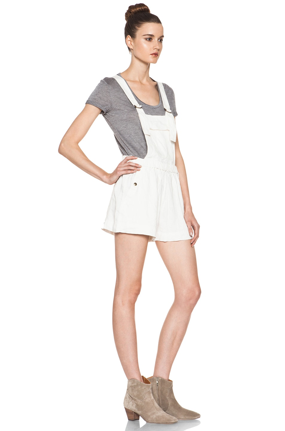 Image 3 of Isabel Marant Etoile Jason Fluffy Linen Overalls in Blanc