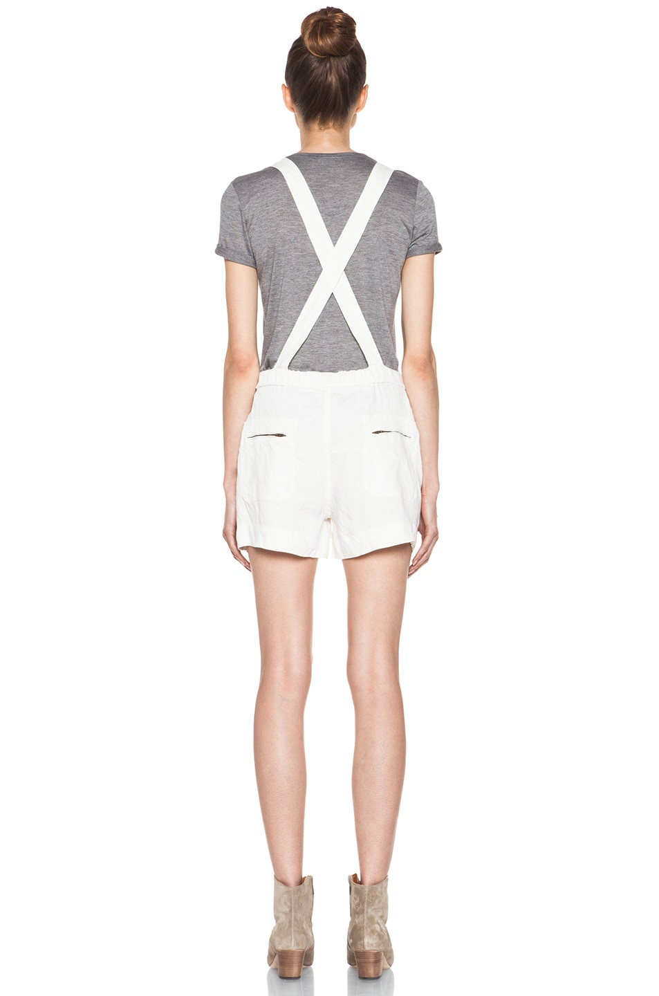 Image 4 of Isabel Marant Etoile Jason Fluffy Linen Overalls in Blanc