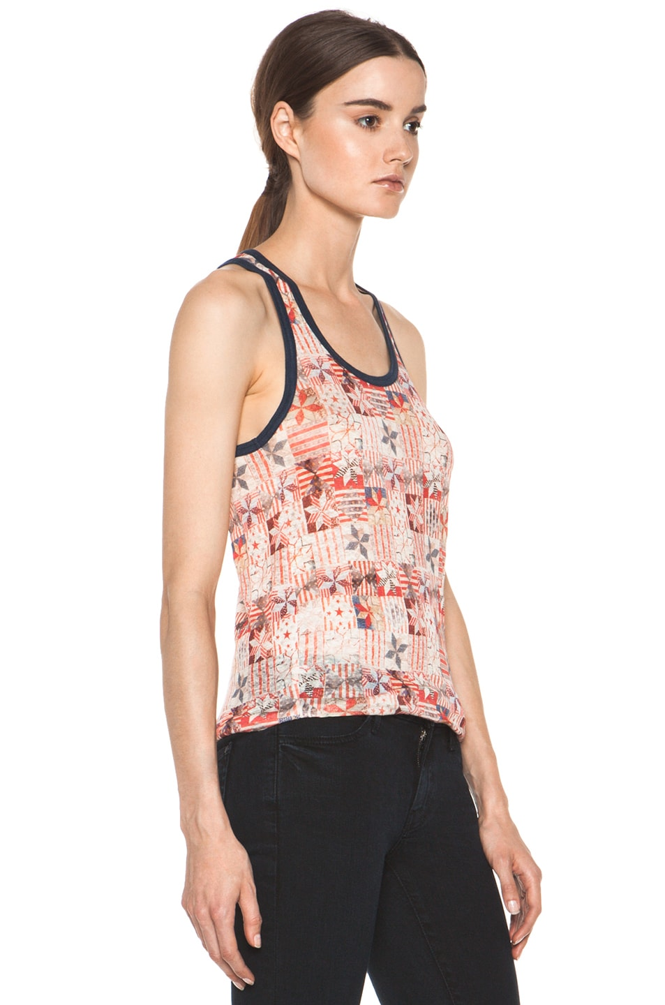 Image 3 of Isabel Marant Etoile Foxton All Over Printed Linen Tank in Rouge