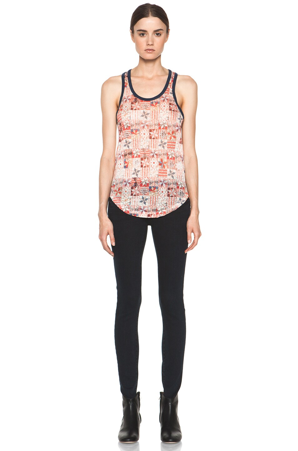 Image 5 of Isabel Marant Etoile Foxton All Over Printed Linen Tank in Rouge