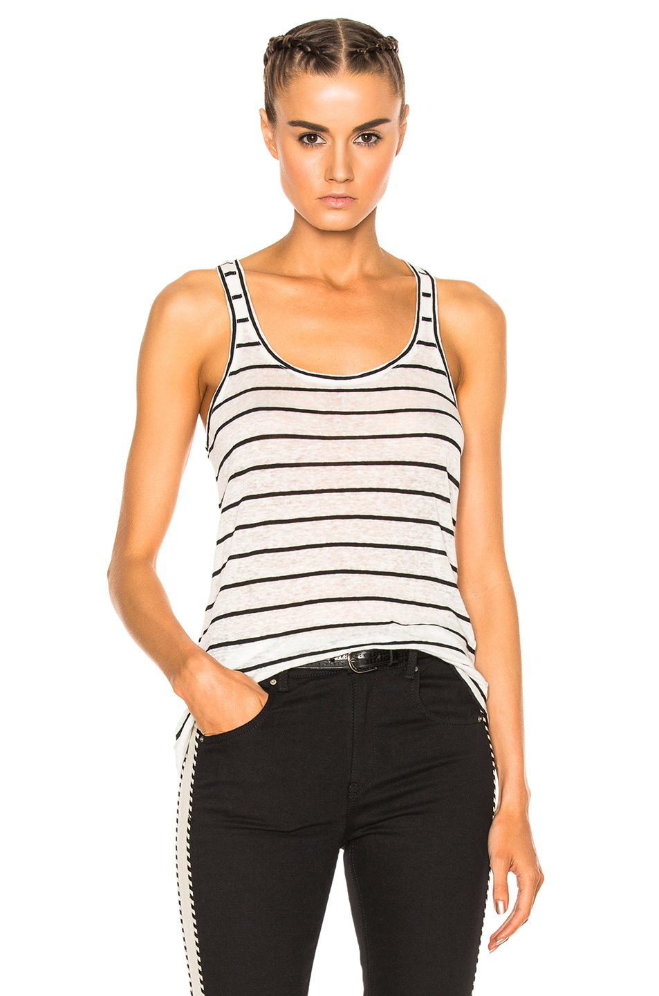 Image 1 of Isabel Marant Etoile Avien Striped Linen Tank in Ecru