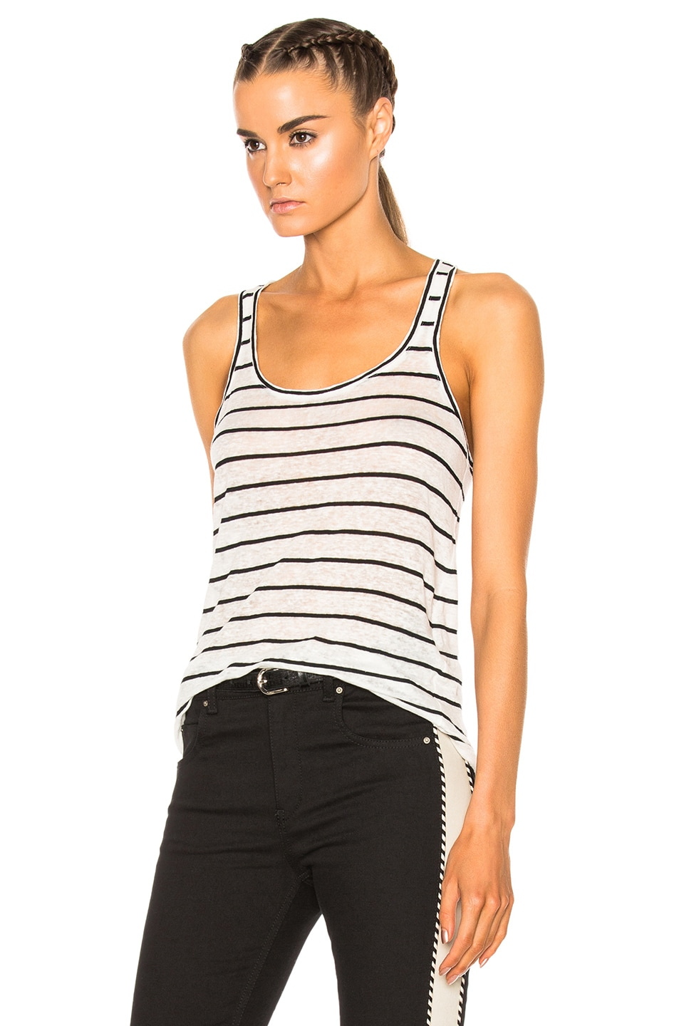 Image 2 of Isabel Marant Etoile Avien Striped Linen Tank in Ecru