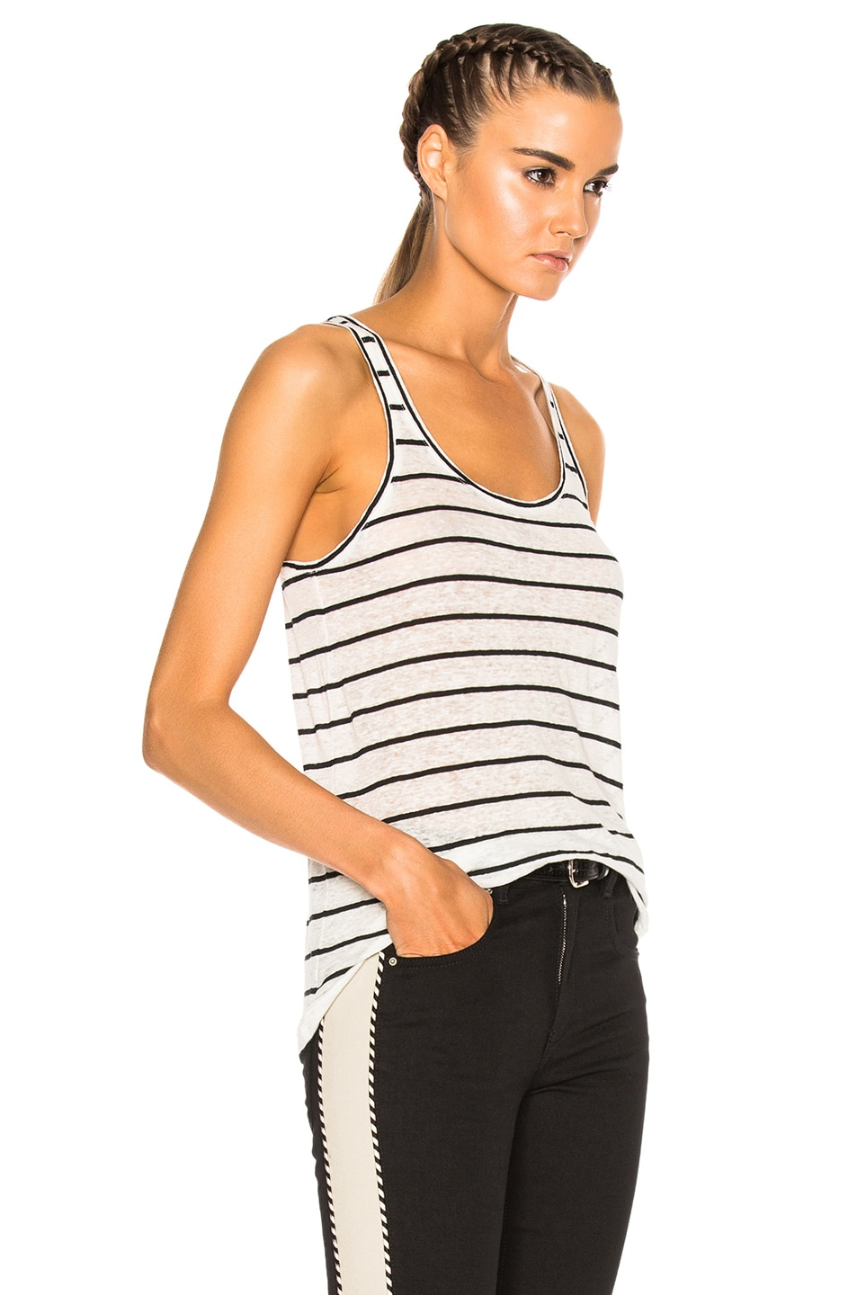 Image 3 of Isabel Marant Etoile Avien Striped Linen Tank in Ecru