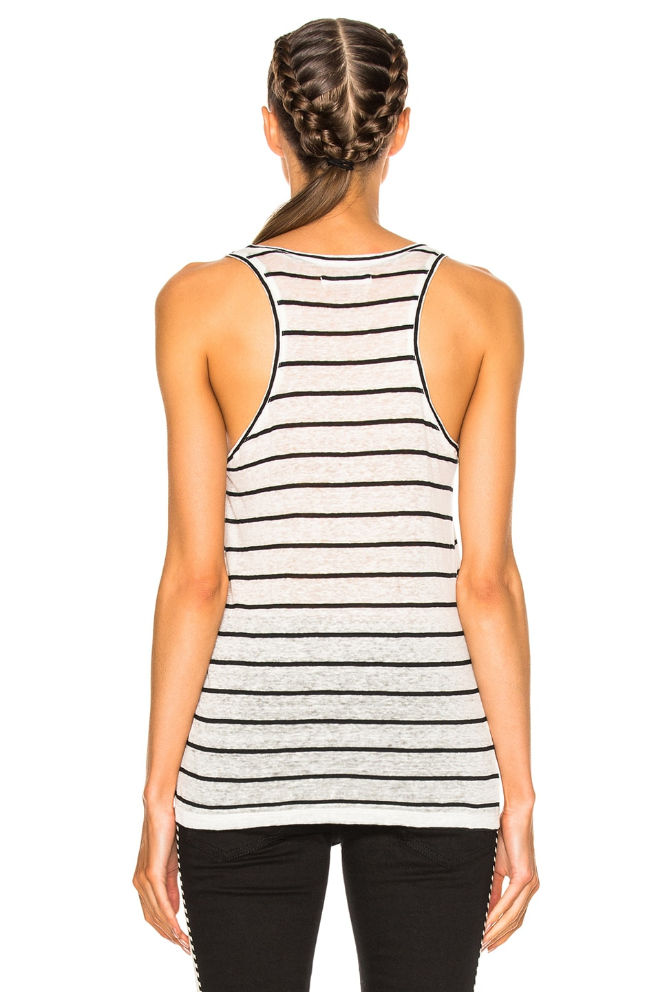 Image 4 of Isabel Marant Etoile Avien Striped Linen Tank in Ecru