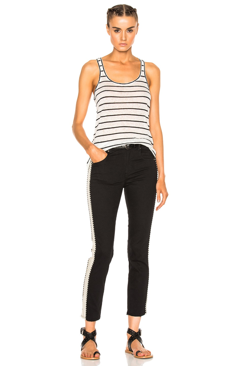 Image 5 of Isabel Marant Etoile Avien Striped Linen Tank in Ecru
