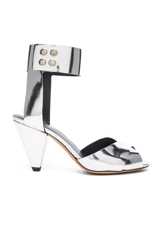 Image 1 of Isabel Marant Etoile Leather Meegan Metallic Heels in Silver