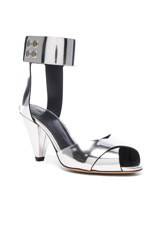 Image 2 of Isabel Marant Etoile Leather Meegan Metallic Heels in Silver