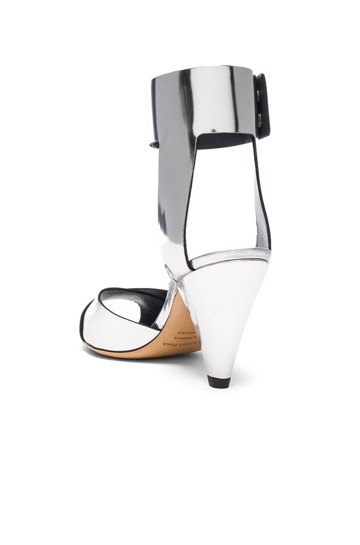 Image 3 of Isabel Marant Etoile Leather Meegan Metallic Heels in Silver
